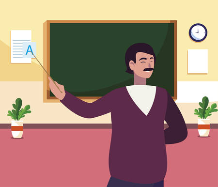 teacher male in the classroom character vector illustration design 일러스트