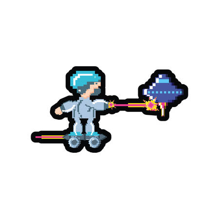 video game avatar pixelated with skateboard vector illustration design Vettoriali
