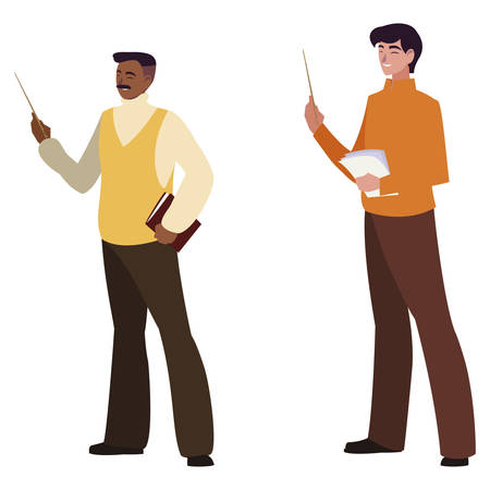 teachers couple avatars characters vector illustration design Çizim