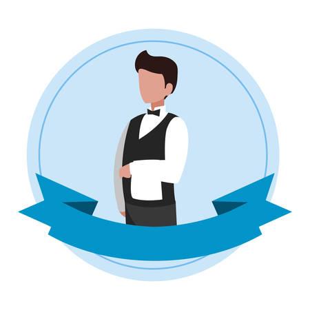 Kellner Catering Service Charakter Vektor Illustration Design Vektorgrafik