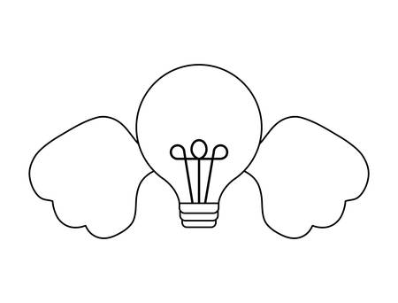 light bulb with wings isolated icon vector illustration design