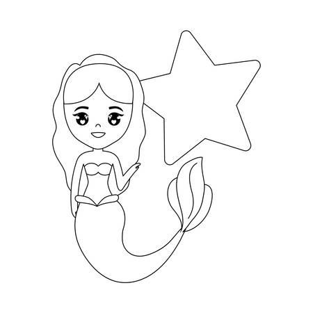 cute mermaid with star decoration vector illustration design Illustration