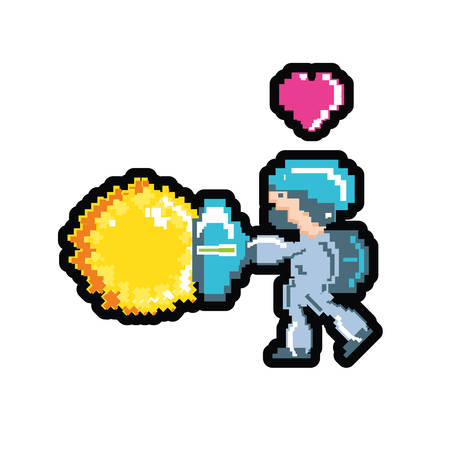 video game avatar pixelated with heart vector illustration design