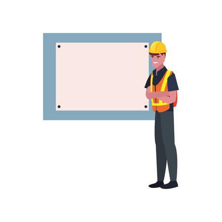 construction worker board vector illustration design image