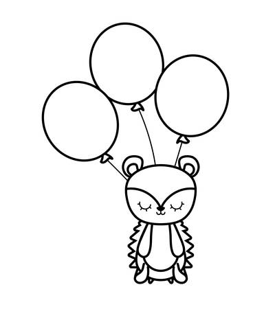 cute porcupine animal with balloons helium vector illustration design Banque d'images - 123106265