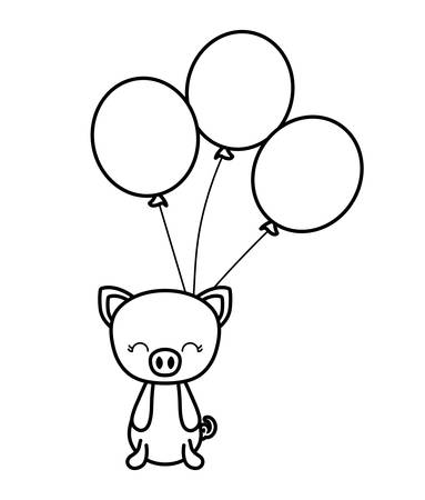 cute piggy animal with balloons helium vector illustration design Banque d'images - 123106268