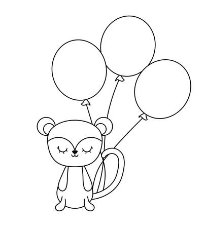 cute monkey animal with balloons helium vector illustration design Banque d'images - 123106291