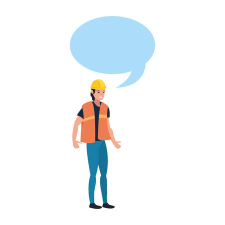 female builder speech bubble labour day vector illustration