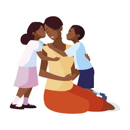 Hermosa madre negra con pequeño hijo e hija, diseño de ilustraciones vectoriales