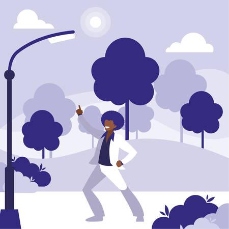 Joven bailarina negra bailando en el parque, diseño de ilustraciones vectoriales