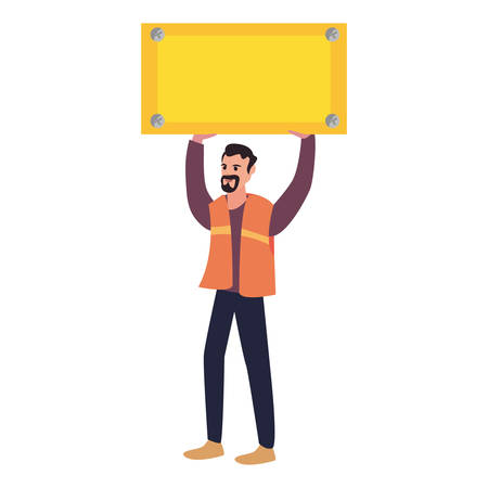 construction worker board labour day vector illustration Stock Illustratie