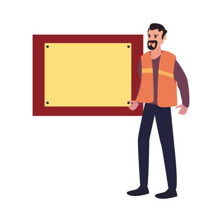 construction worker board vector illustration design image Stock Illustratie