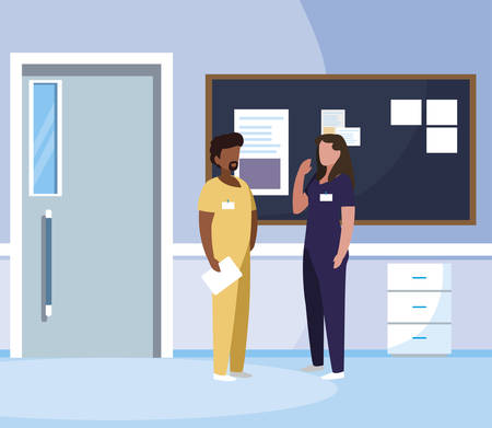 interracial couple medicine workers in hospital corridor vector illustration design