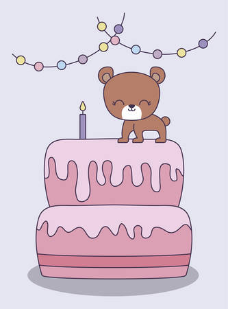 sweet cake with cute bear and garlands hanging vector illustration design Çizim