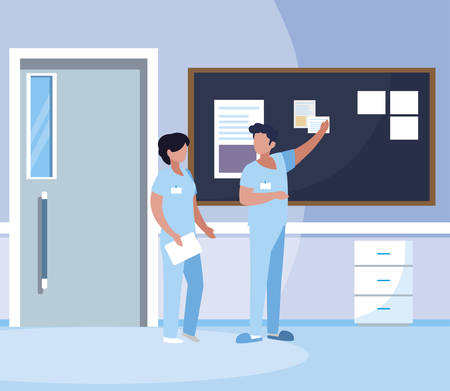 couple medicine workers with uniform in hospital corridor vector illustration design Stock Illustratie