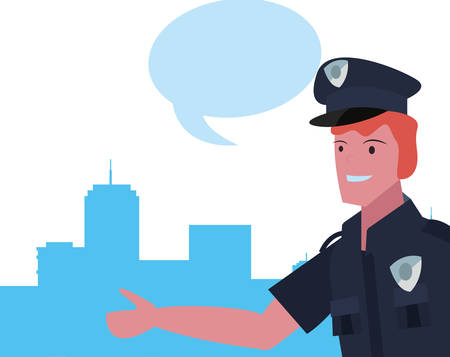policeman speech bubble labour day vector illustration