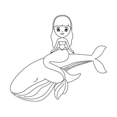 cute mermaid sitting in whale vector illustration design Vectores