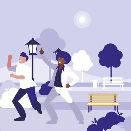 interracial dancers couple in the park vector illustration design Ilustração Vetorial