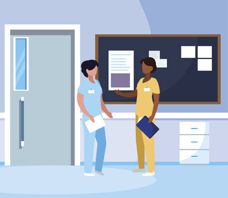 interracial female medicine workers in hospital corridor vector illustration design Çizim