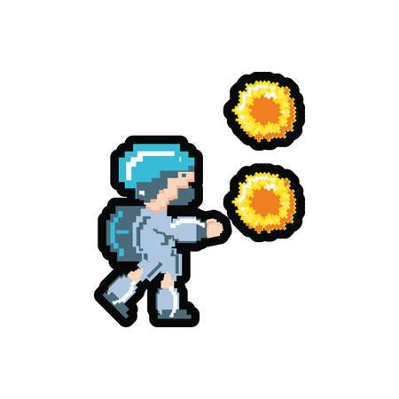 Avatar de videojuegos con bolas de fuego, diseño de ilustraciones vectoriales pixeladas