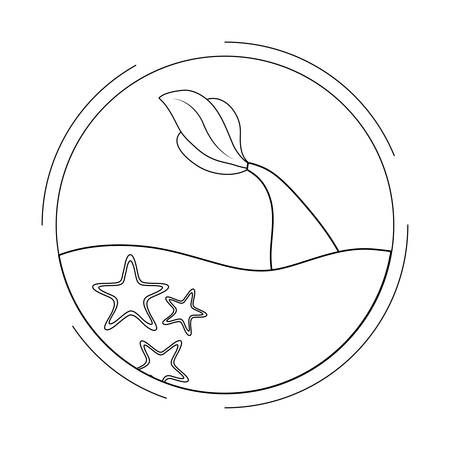 cute mermaid tail in the sea vector illustration design Vectores