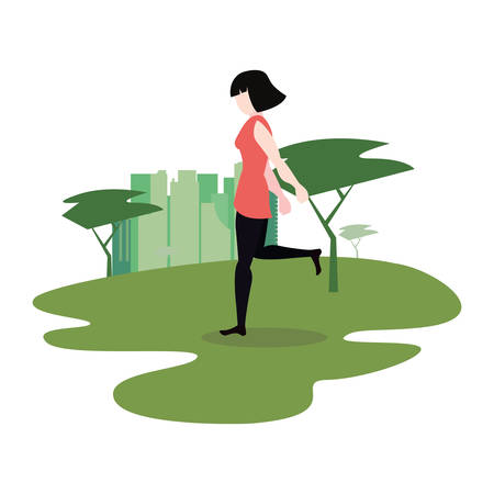 woman making exercise in the park activity vector illustration