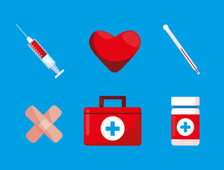 first aid kit with set icons vector illustration design