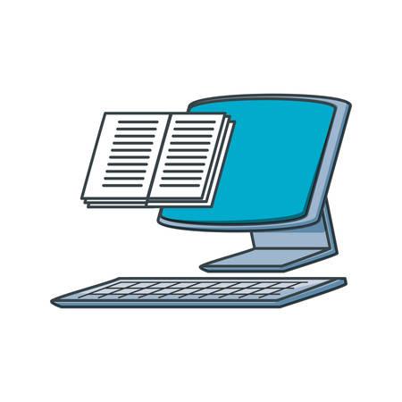 desktop computer with book vector illustration design