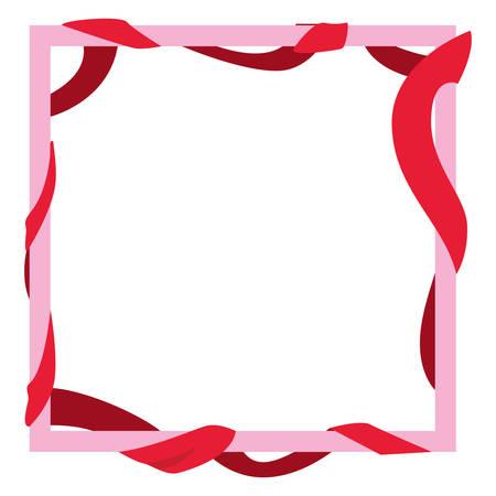 frame ribbon decoration empty vector illustration design