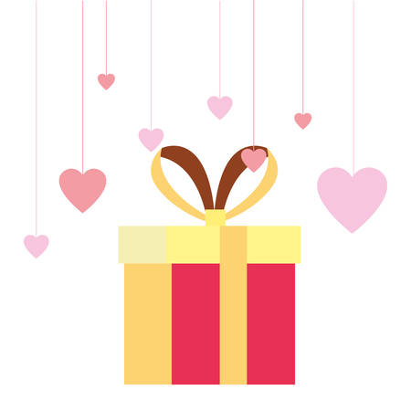 gift box surprise hearts decoration vector illustration