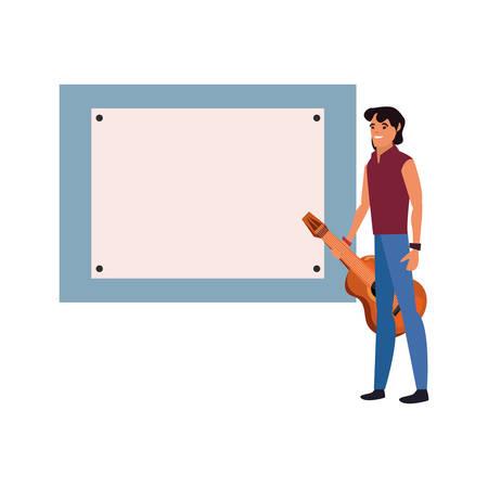 musician profession board labour day vector illustration design Stock Illustratie