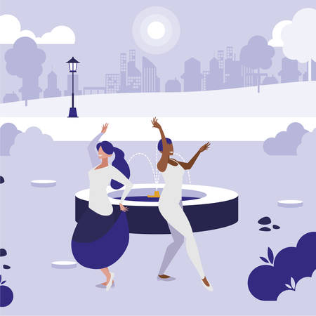 young interracial girls dancing in the park vector illustration design 版權商用圖片 - 121402272