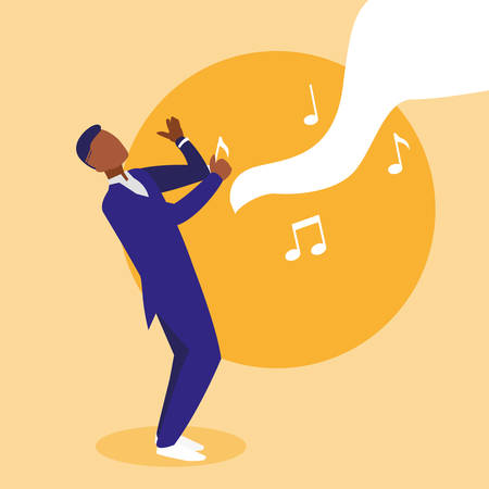 black musician jazz character vector illustration design