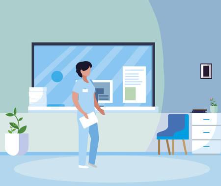 female medicine worker in hospital reception vector illustration design