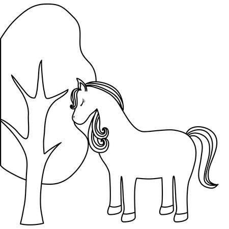 cute unicorn animal with tree plant vector illustration design 向量圖像