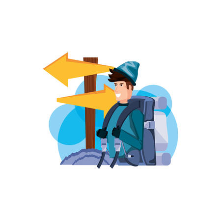 traveler man with travel bag and wooden arrow signal vector illustration design
