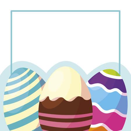 happy easter eggs painted frame vector illustration design Stockfoto - 123066983