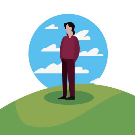 man standing in the landscape vector illustration Stock Illustratie