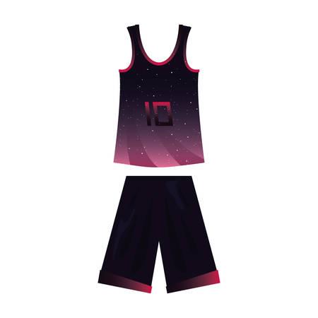 Ilustración de vector de pantalones cortos de jersey de deporte uniforme de baloncesto