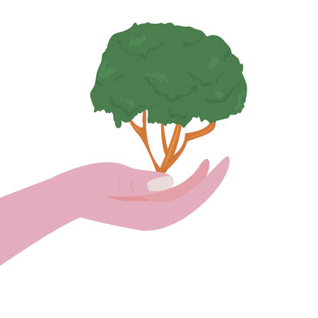 hand holding tree natural happy earth day vector illustration