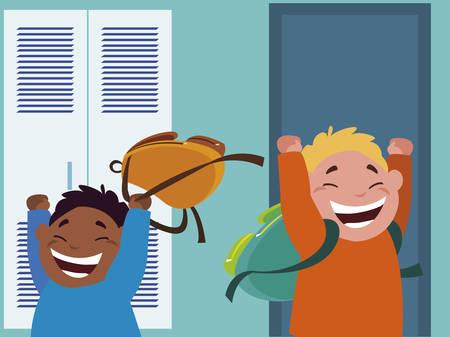 happy little interracial boys in the school corridor vector illustration design