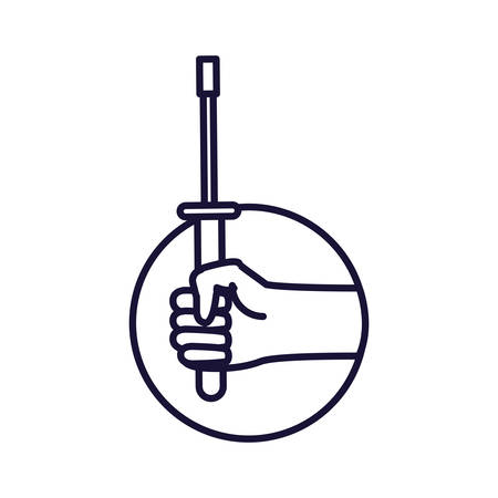 hand with screwdriver tool in frame circular vector illustration design