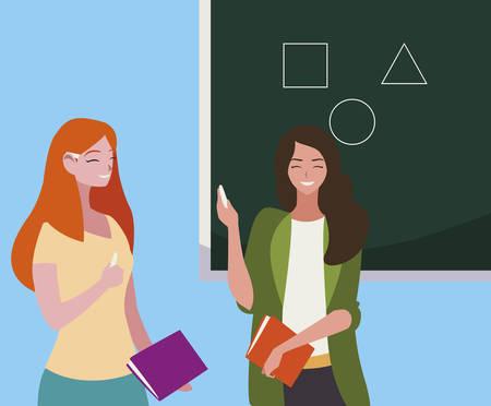female teachers couple with textbooks and chalkboard vector illustration design Stock Illustratie
