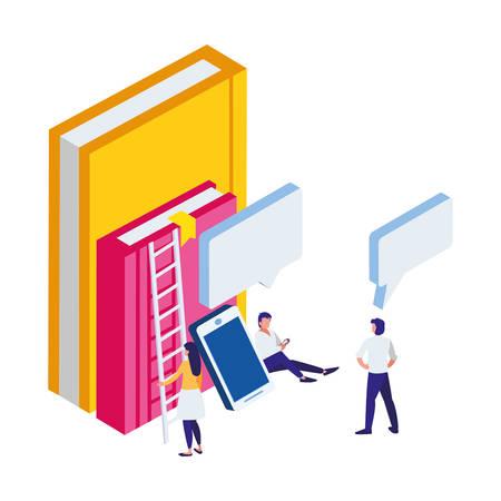 pile text books with smartphone and mini people vector illustration design Vektoros illusztráció