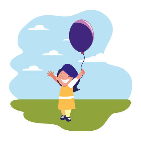 happy girl holding balloon in the outdoors vector illustration Banque d'images - 123020055