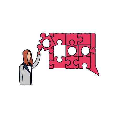 businesswoman with puzzle pieces in shape speech bubble vector illustration design