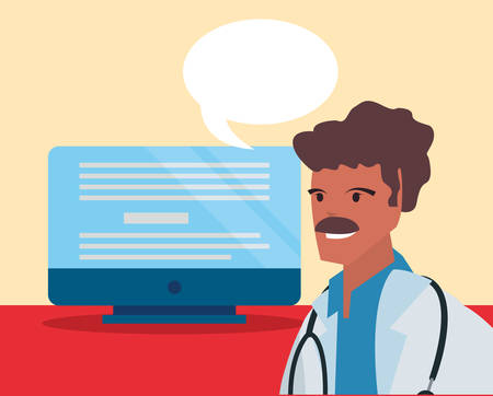 doctor speech bubble computer labour day vector illustration