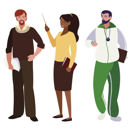 teachers classic and sports avatars characters vector illustration design