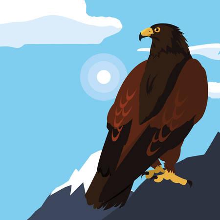 beautiful eagle majestic bird in the landsscape vector illustration design