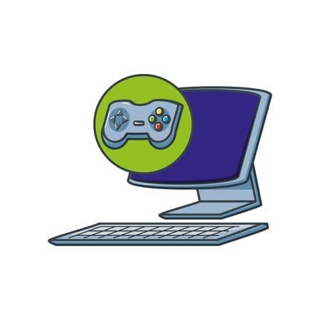 desktop computer with control game vector illustration design Illustration